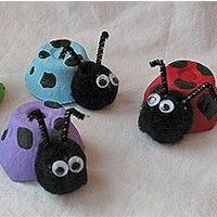 Egg Carton Lady Bugs - recycled egg cartons