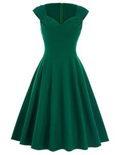 Retro V Neck Black Red Green Summer Dress Robe Femme Casual Tunic Rockabilly Swing Party Dress green dress 3 Mais Pretty Dresses, Sexy Dresses, Vintage Dresses, Casual Dresses, Prom Dresses, Green Summer Dresses, Summer Dresses 2017, Green Party Dress, Short Green Dress