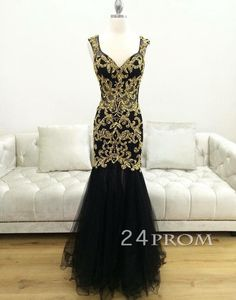 Black Tulle Sweetheart Gold sequins Long Prom Dress