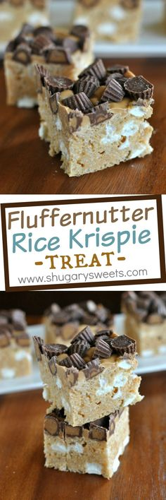 Peanut Butter Rice Krispie Treats topped with melted Reese's PB morsels and mini Reese's PB cups. A delicious twist on a childhood favorite!:
