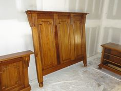 Queensize headboard and footboard built out of 100+ yr old cypress flooring reclaimed from a warehouse in New Orleans