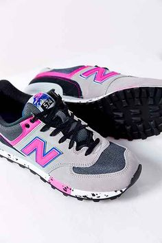 new balance sneakers with a fun pop of pink