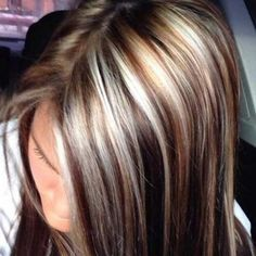 chocolate brown hair with chunky blonde highlights Right Choice for Wedding - Dark Brown Hair Dye, Brown Hair With Lowlights, Brown Hair With Caramel Highlights, Hair Highlights And Lowlights, Brown Hair With Blonde Highlights, Hair Color Highlights, Chunky Highlights, Auburn Highlights, Hair Color And Cut