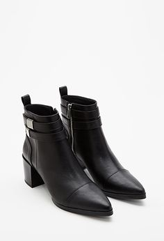 Strapped Faux Leather Booties | Forever 21 - 2000133405