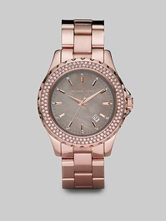 Michael Kors  Rose Gold Stainless Steel & Crystal Watch