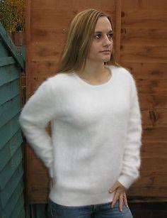 "NEW>White Soft Fluffy Furry Angora Sweater>M>38"">Chic Luxurious Sexy>£42.99"