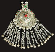 Balochistan | Pendant; silver and glass | 20th century