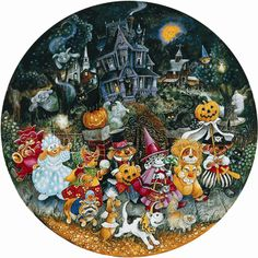 Sunsout's Howl-O-Ween Dogs , a 500 piece round jigsaw puzzle. Art by Bill Bell; adorable puppies in even cuter costumes get all treats on Howloween! Jigsaw Puzzle Fun, Puzzle Art, Jigsaw Puzzles, Wooden Puzzles, Sunsout Puzzles, Puzzle Shop, Shape Puzzles, Art Impressions, Cartoon Art Styles