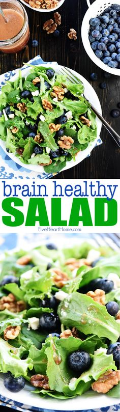 Brain Healthy Salad ~ loaded with leafy greens, blueberries, walnuts, and extra-virgin olive oil for an easy, tasty way to enjoy brain-protective food. Fresh Salad Recipes, Healthy Salad Recipes, Real Food Recipes, Cooking Recipes, Healthy Foods, Vegan Recipes, Salads For Kids, Summer Salads, Side Dishes Easy