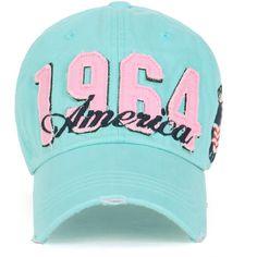 ililily Vintage Distressed 1964 America Logo Adjustable Hat Baseball... (2.700 HUF) ❤ liked on Polyvore featuring accessories, hats, distressed baseball hats, baseball hats, vintage baseball caps, adjustable ball caps and logo baseball hats