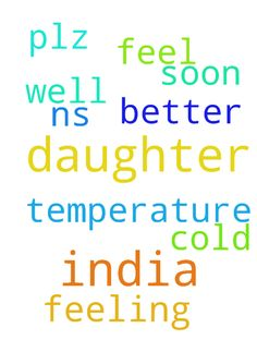 N.s. More From India my daughter not - N.s. More From India my daughter not feeling well having temperature and cold.... Plz pray she will feel better soon...  Posted at: https://prayerrequest.com/t/SPm #pray #prayer #request #prayerrequest