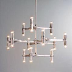 Modern Bamboo Inspired Chandelier - Shades of Light Lighting Inspiration, Dining Room Lighting, Ceiling Decor, Interior Lighting, Modern Light Fixtures, Mid Century Chandelier, Contemporary Chandelier, Chandelier, Modern Lighting