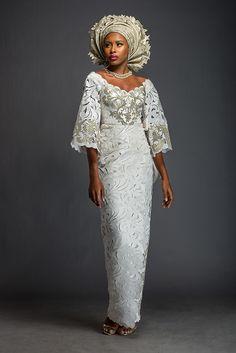 Adeola - Ivory and Brass gilded Iro and Buba. ~African fashion, Ankara, kitenge, African women dresses, African prints, African men's fashion, Nigerian style, Ghanaian fashion ~DKK