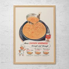 CAMPBELL'S SOUP AD - Retro Mid-Century Ad - Vintage Cooking Poster 1950's Retro Ad Kitsch Poster Retro Food Wall Art Retro Ad…