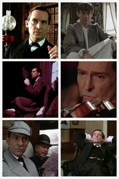 I like this collage, I especially like the fourth pic, with the violin. Sherlock Tv Series, Jeremy Brett Sherlock Holmes, Sherlock Bbc, Granada, Friends Actors, David Burke, Tv Detectives, Uk Tv, 221b Baker Street