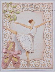 #cheeryld Hi Everyone, It's Julie here today hosting the blog. I think we all have dreamed of becoming a Ballet Dancer at some point in our lives and today I am showcasing the beautiful Arabesque Ballerina from the April 2015 New Release. Dies Used: B571 Leafy Flourish B568 Arabesque Ballerina B589 Ballet Slippers CM5 A2 Frames DL130 Dutch Doily Rectangle Frame www.CheeryLynnDesigns.com
