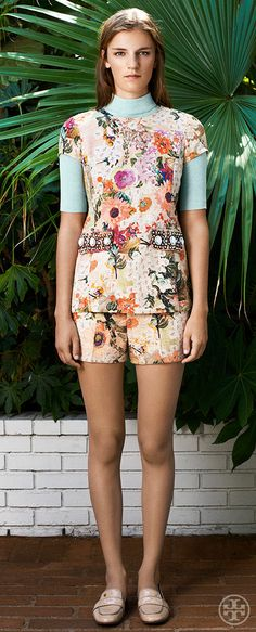 Layer a boyish turtleneck under feminine florals | Tory Burch Resort 2014
