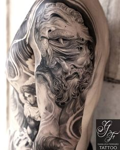 """GIANLUCA FERRARO on Instagram: """"Wisdom is a great force - Who is really interested in getting a tattoo can contact: gianlucatattoo@hotmail.it WhatsApp +39…"""" Hercules Tattoo, Worldwide Tattoo, London Tattoo, Tattoo Portfolio, Get A Tattoo, Black And Grey Tattoos, Sleeve Tattoos, Lion Sculpture, Wisdom"""