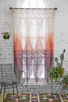 Magical Thinking Safi Macrame Dip-Dye Ombre Gradient Braided Woven Tassel Fringe Wall Hanging Curtain