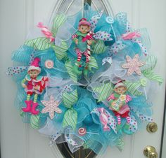 Christmas Treats Blue Elf Holiday Mesh Wreath Door Decor by MeshWreathsnMore on…