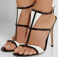 Gianvito Rossi Two-tone patent-leather sandals