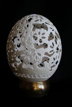 Alphonse Mucha  Sculpted Ostrich Egg (Back)