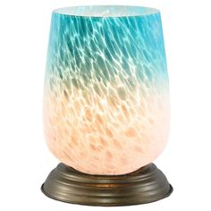Medium Bordeaux Glass Memory Lamp - Blue/White