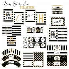 Love these gorgeous New Year's Eve printables. They're offered as a free download from @whimsicalprint