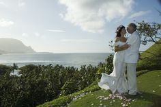 This angle on the bluff shows Bali Hai in the distance, above Hanalei Bay Wedding Minister, Hanalei Bay, Kauai Wedding, Wedding Officiant, Distance, Wedding Ceremony, Bali, Dream Wedding, Weddings