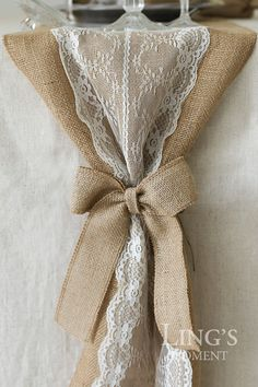 Set of 2 Plain Wedding Burlap Bows-Burlap Pew Bows-Burlap Bow Tie-Burlap Accessories-Burlap Wreath-Shabby Chic Wedding Decoration JUTBOW003