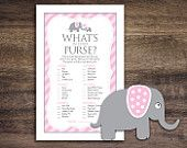 Instant Download Pink Elephant Baby Shower Games, What's In Your Purse Game Cards, Printable Party Sheets, Girl Pink Elephant Theme #22B