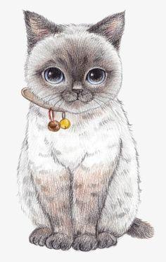 Hand Painted Cartoon Cat, Cartoon Clipart, Cat Clipart, Hand Painted PNG Transparent Clipart Image a Animals Watercolor, Cat Clipart, Clipart Images, Cute Animal Drawings, Art Drawings Sketches, Drawings Of Animals, Cat Art, Cats And Kittens, Cute Cats
