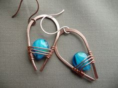 Copper & Turquoise Wire Wrapped Earrings