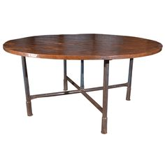 Antique English Scaffolding Table with Reclaimed Elm Top