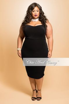 New Plus Size BodyCon Strapless Dress in  Black