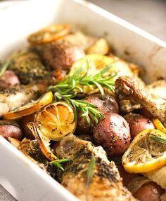 #healthychicken Chicken Potato Bake, Chicken Potatoes, Lemon Chicken, Baked Chicken, Chicken Recipes, Rosemary Chicken, Roasted Chicken, Chicken Skin, Rosemary Potatoes