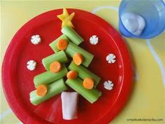Use cut celery arrange on an angle to create the shape of the tree ...