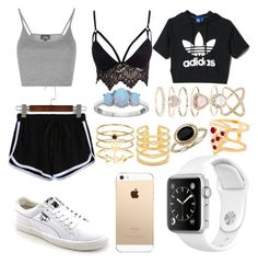 """""""???"""" by daisywolfe on Polyvore featuring adidas, Club L, Topshop, Puma, Blue Nile, Glenda López, Accessorize, Stella & Dot and rings"""