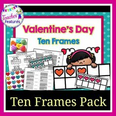 Add Conversation Heart candies to these ten frames cards for yummy Valentine's Day fun! This set of Valentines ten frames worksheets and cards is perfect for Valentines Day Math Centers.