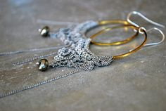Metal Silver Lace Hoop Earrings  Pyrite Earring  by letemendia #EtsyEurope #EtsyCyprus #Cyprus