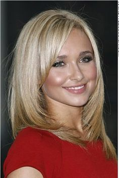 This is a cool, trendy hairstyle as Hayden Panettiere has her hair medium length and styled into this fashionable style. The hair is straight and comes down nicely from the crown. Hayden's hair is then angled at the neck and then flicked inwards.Hayden's hair is cut into layers and is cut to the shoulders.The hair colour is a golden blonde.