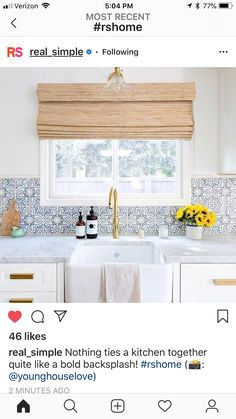 Jennifer Muirhead In Jennifer Muirhead Interiors Kitchen Remodel Morrocan Tile Backsplash Tabarka Honed Marble Countertops Farmhouse sink Brass faucet One Peek at This Modern Kitchen and You'll Be Tile Dreaming for a Month Kitchen Ikea, Kitchen Redo, Kitchen Interior, New Kitchen, Spanish Kitchen, Kitchen Modern, Kitchen White, Shaker Kitchen, Kitchen Cabinets