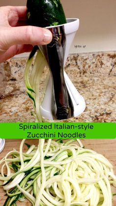 Spiralized Italian-style zucchini noodles. Delicious 20-minute meal! Just like a bowl of pasta only a fraction of the calories! #glutenfree #vegetarian