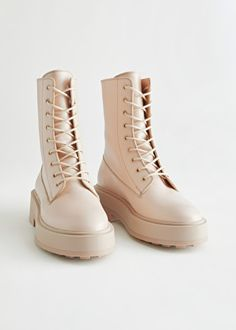 PDP - & Other Stories - & Other Stories Beige Boots, Lace Up Boots, Leather Boots, Cow Leather, Denim Boots, Mini Hoop Earrings, Hanging Earrings, Combat Boot Outfits, Combat Boots