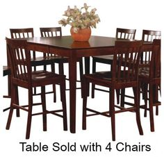 101038WLNSET Pines 5 PC Counter Height Dining Room Set with Table and Four Chairs in Walnut
