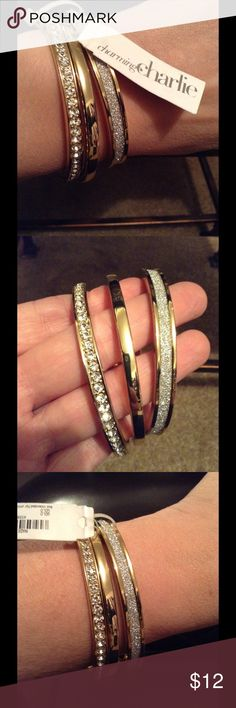 CHARMING CHARLIE Gold Bangles New with tags! Great gift idea for the holidays!! Charming Charlie Jewelry Bracelets
