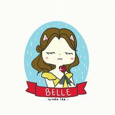 Belle 🌹  #disneyprincess #belle #beautyandthebeast #disney #waltdisney #catlover #cutedrawing #drawings #doodle #windalee #dailydoodle #princess #fantasy #fairytale #illustrations