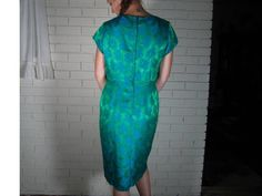 50's green and blue brocade cocktail dress size S by ARTCPACKRAT on Etsy