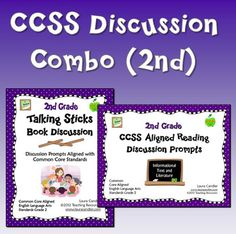 CCSS Reading Discussion Combo (2nd Grade) is a combination of my CCSS Aligned Reading Discussion Prompts and the Talking Sticks Book Discussion cards for grade 2. The Reading Discussion Prompts are for whole group use, and the Talking Sticks are best for small groups, centers, or cooperative learning teams. Both items include the same 24 discussion prompts so you can introduce them to the whole class and then let students use them in small groups. $