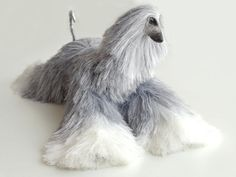 Gray White Collectible Afghan Hound Poseable Miniature Cute Plush Art Doll Needle Felted Dog
